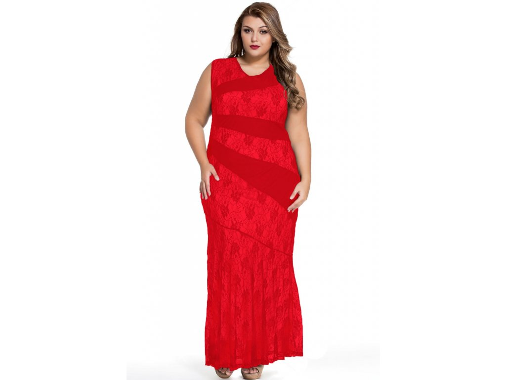 Red Stylish Lace Splice Plus Size Mermaid Prom Dress LC61047 3 16046