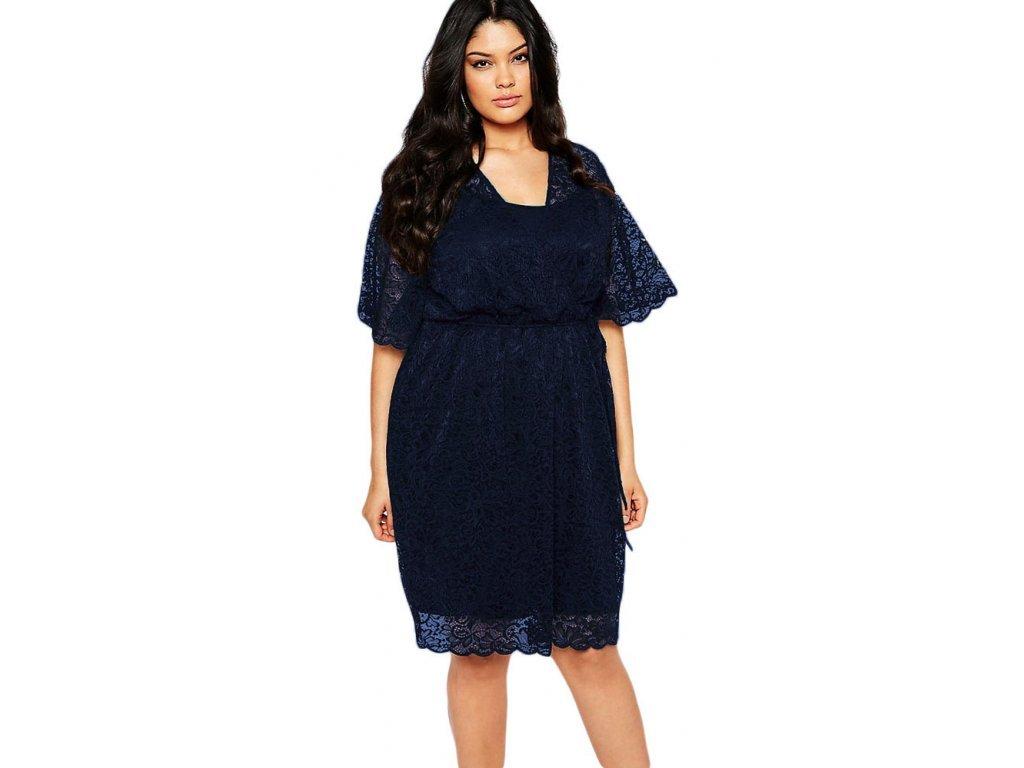 60cf7fedf844 A Elegantní krátké krajkové šaty tmavě modré 0975 - trendy-obleceni.cz