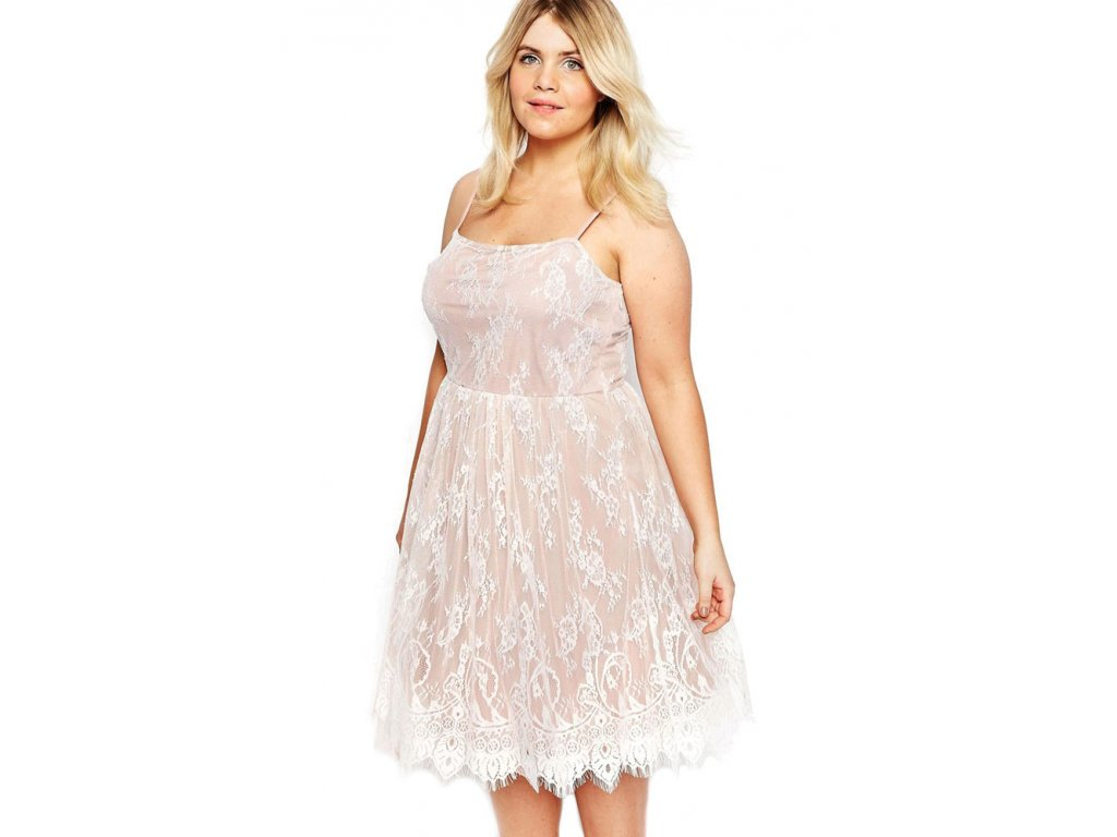 White Big Girl Sweet Lace Skater Dress LC61071 1
