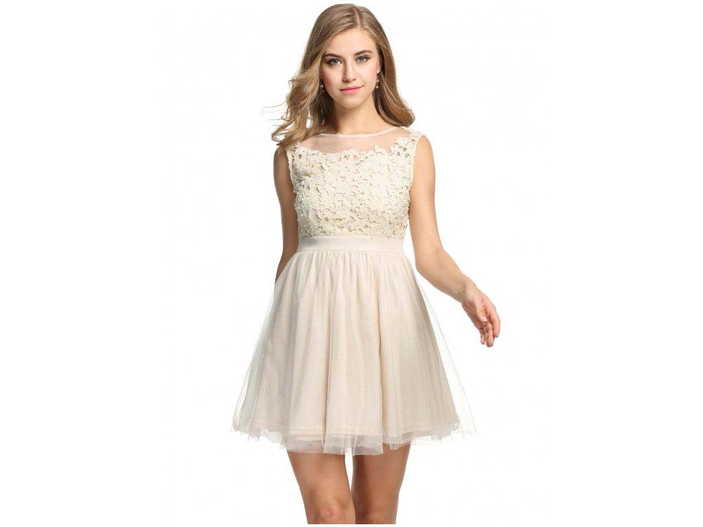 60c3d9d3a A Plesové šaty krátké s krajkou béžové s perličkami 45-3 - trendy ...