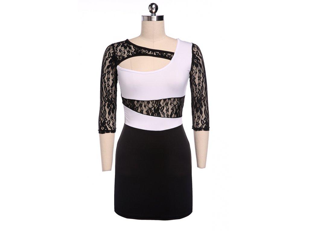 A Sexy šaty krátké s krajkou bílé 39-1
