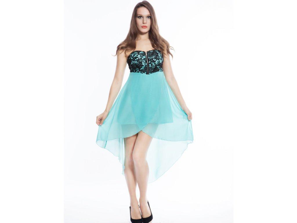 A Plesové šaty mentolové s výšivkou