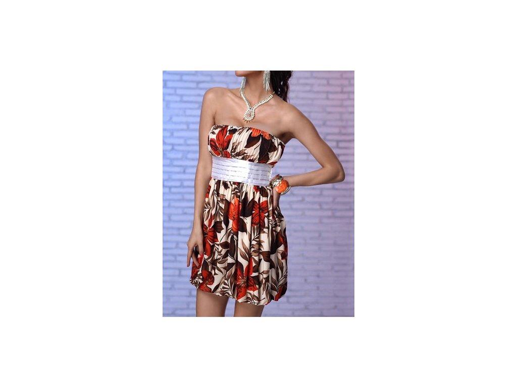 A Letní šaty s květy světlé , balonová sukně