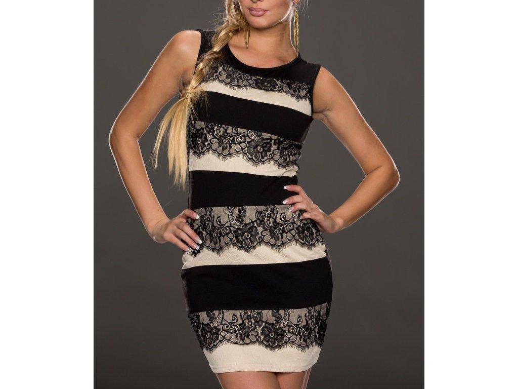 A Elegantní šaty s krajkou béžovo černé OH7872