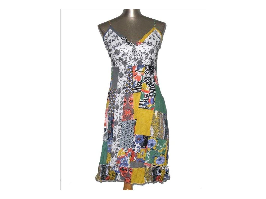 Letní šaty bavlna patchwork, multivzorované FD21-do 4-7 dní-M