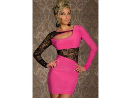 A Pouzdrové šaty růžové s krajkou MO5428 e9c6c197a0