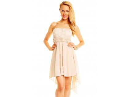 A Šaty do tanečních asymetrická sukně - béžové 5d3fc082a9