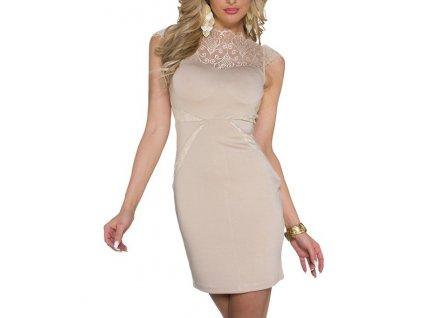 A Pouzdrové společenské šaty,béžové s krajkou 0060