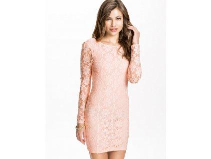 A Pouzdrové společenské šaty, růžové krajkované 0086