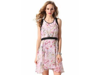A Krátké letní šaty květinový vzor 0402
