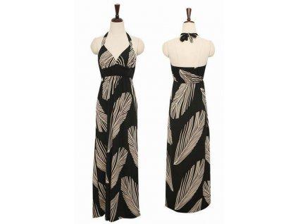 Halter Black Leaves Maxi Dress LC6277 11954