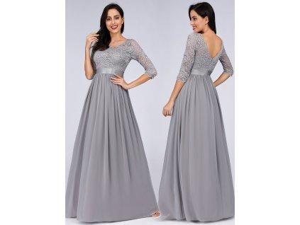 Dlouhé šedé šaty s krajkou a rukávem