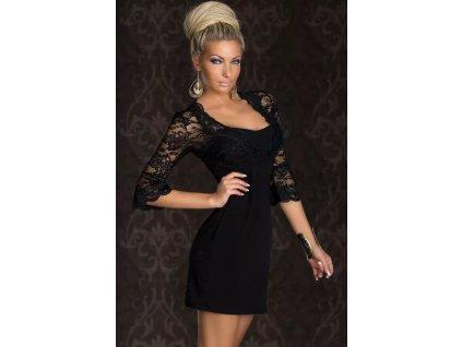A Luxusní černé krajkové šaty s dlouhým rukávem 4146 7ade865f3a