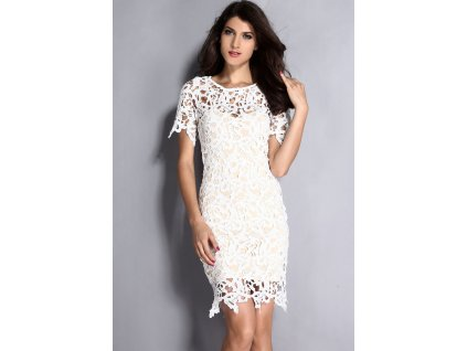 Cream White 2PC Hollow out Lace Midi Dress LC6683 21553
