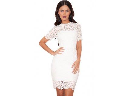 white lace short sleeve bandage dress lc28308