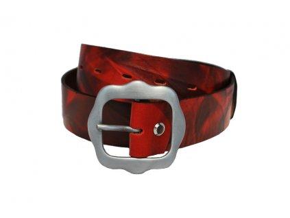 A Dámský kožený pásek žíhaný červený