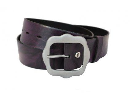 A Dámský kožený pásek žíhaný fialový