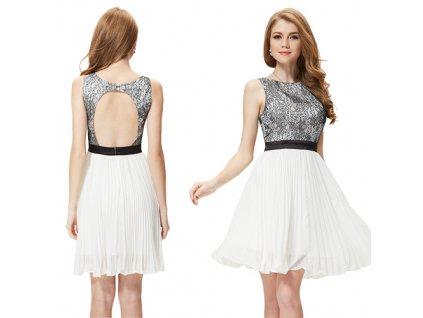 9a4238e51d5 Ever Pretty šifonové šaty krátké bílé s krajkou 3898