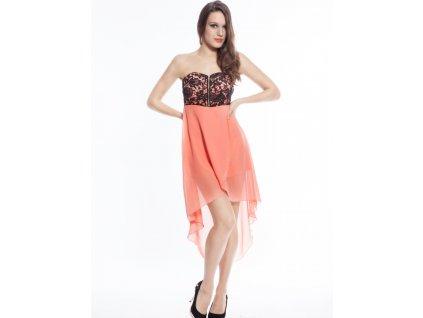 A Plesové šaty meruňkové s výšivkou