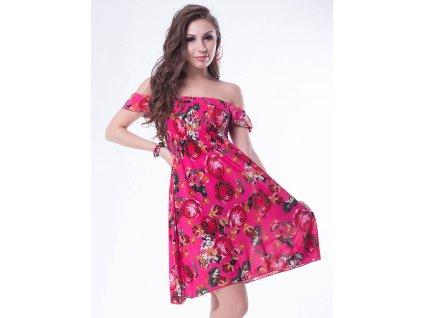 A Letní šaty k moři růžové s květy