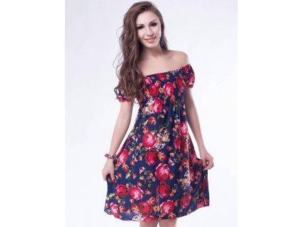 A Letní šaty k moři modrý s květy