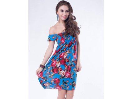 A Letní šaty k moři modrý světlý s květy