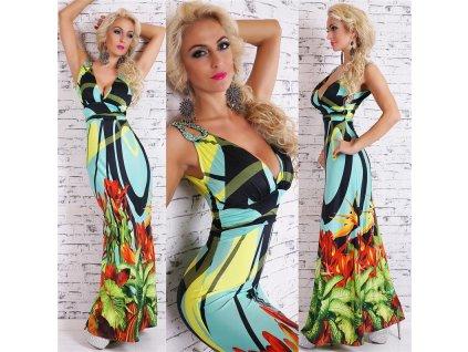Queen O.F. dlouhé šaty nevšední zelené ST140