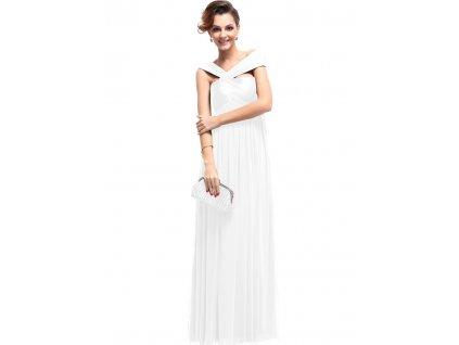 Bílé plesové šaty dlouhé ramínka SKLADEM 9464