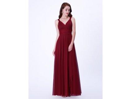 Dlouhé bordo šaty tylové