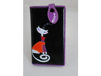 A Dámská peněženka černá s kočkou