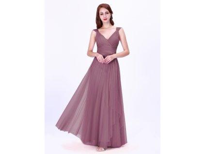 Dlouhé tylové starorůžové šaty