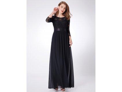 Dlouhé černé šaty s rukávem a krajkou