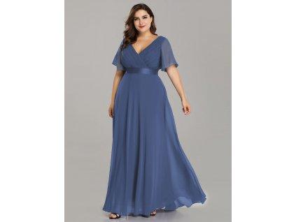 Dlouhé modro šedé šaty s krátkým rukávem