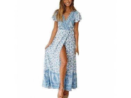 7903ef3dda56 Letní dlouhé zavinovací šaty modré