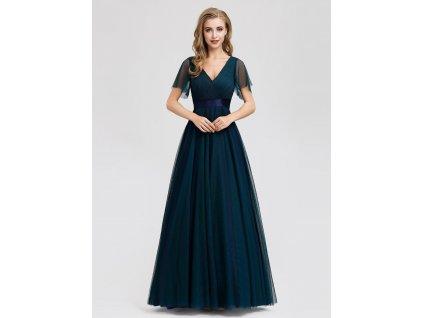 Dlouhé tmavě modré šaty s tylem