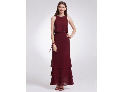 Dlouhé bordo šaty - sukně s topem