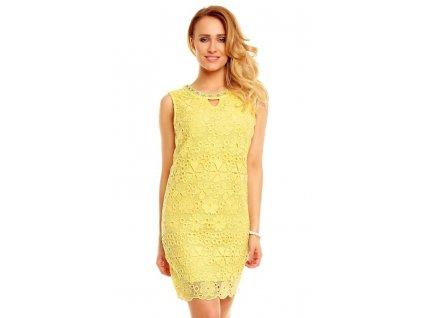 A Společenské šaty s krajkou žluté HS231