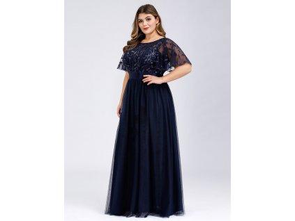 Tmavě modré luxusní společenské šaty 904