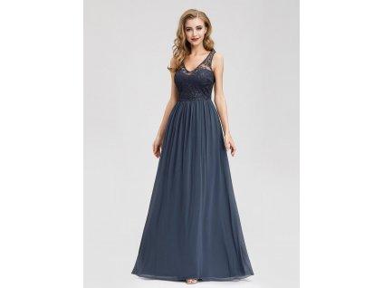 Dlouhé modro šedé šaty s krajkou