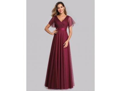 Dlouhé tylové bordo šaty