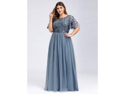 Dlouhé plesové šaty modro šedé