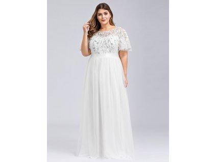 Dlouhé bílé šaty s výšivkou a krátkým rukávem