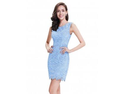 Krátké pouzdrové modré šaty s krajkou