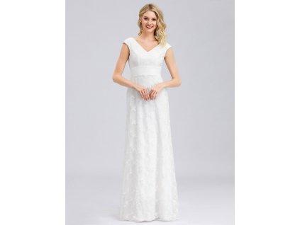 Dlouhé bílé šaty s výšivkou a flitry