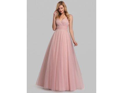 Dlouhé růžové šaty s výstřihem