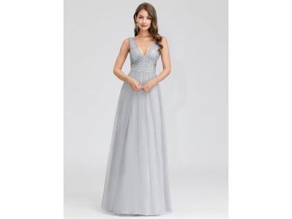 Dlouhé stříbrné šaty