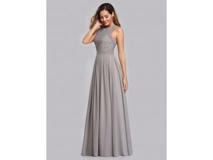 Dlouhé šedé šaty s krajkou