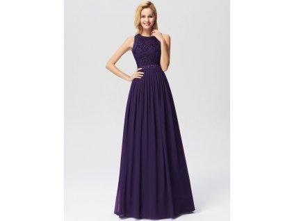 Dlouhé fialové šaty s krajkou
