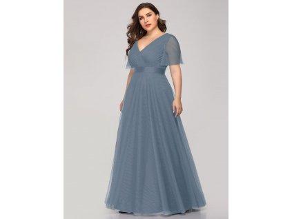 Dlouhé šedo modré šaty s rukávem