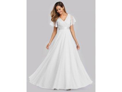Svatební šaty s véčkovým výstřihem a krátkým rukávem